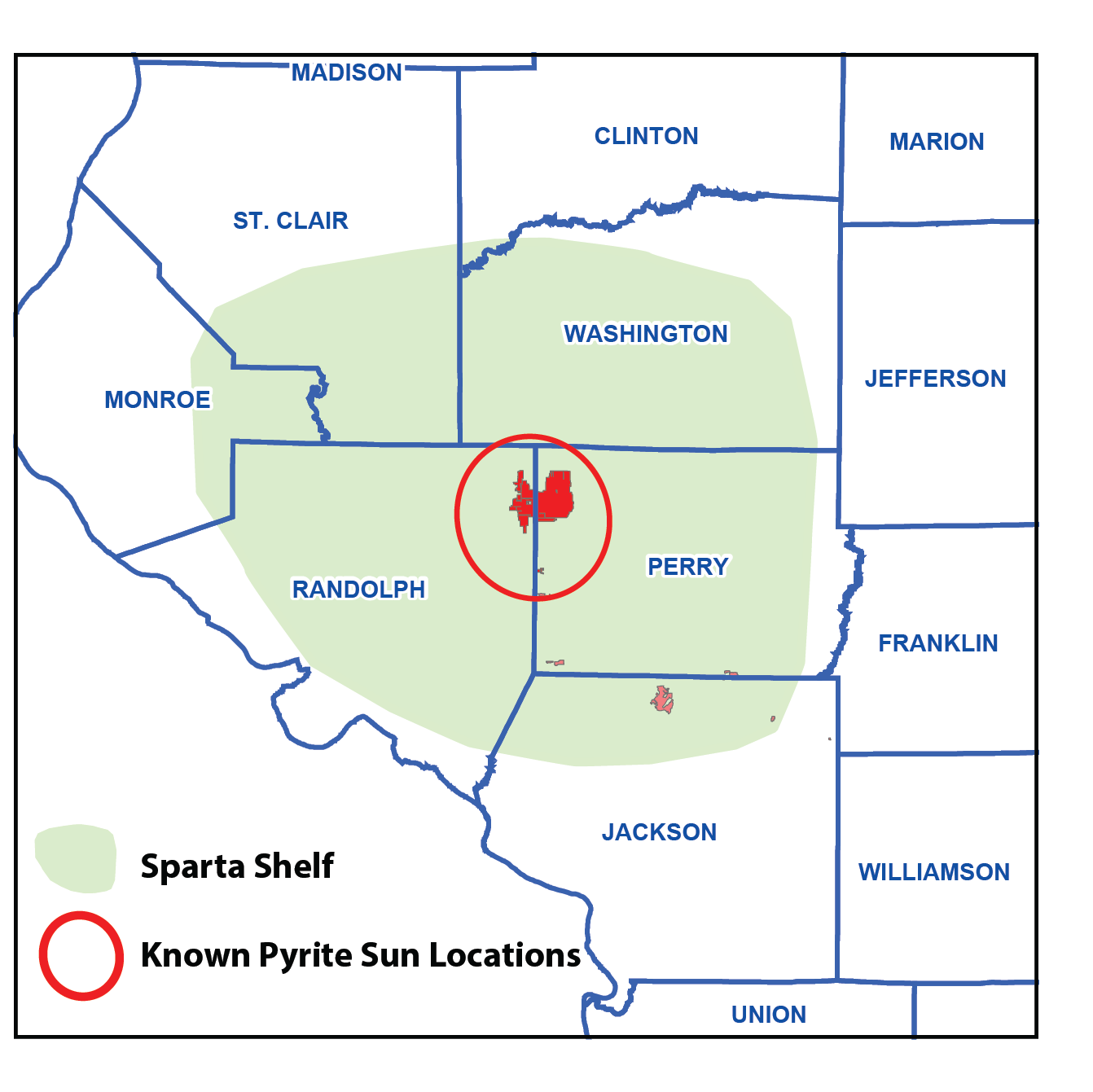 Pyrite suns location map