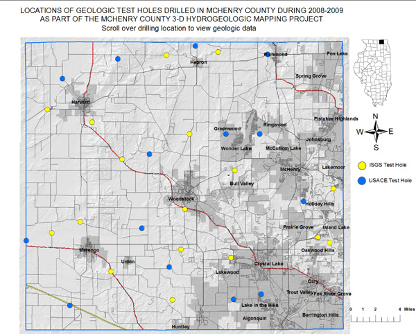 Locations of Geologic test holes drilled in McHenry County during 2008-2009 as part of the McHenry County 3D Hydrogeologic Mapping Project