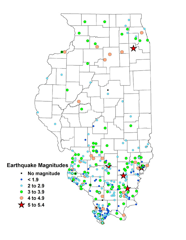 Earthquakes in Illinois map