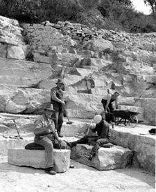 Old limestone building stone quarry, circa 1941