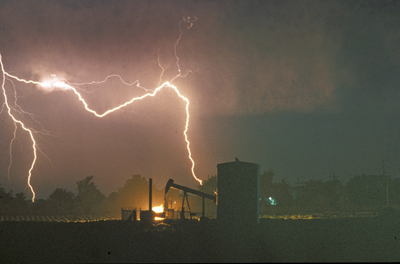 Lightning on oil rig