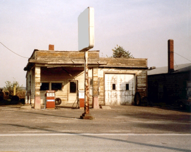 A Photograph Of An Old Gas Station Site