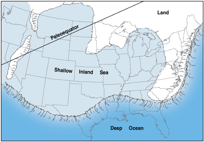 Figure 3 Position of much of the United States and general     paleography during the Mississippian Period, approximately     350 million years ago.