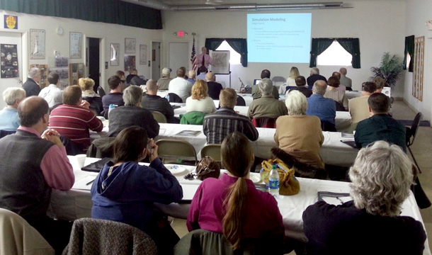 Scott Meyer (ISWS) presenting at the groundwater workshops in McHenry County on March 14