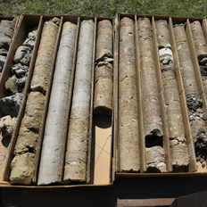 cores from the NRB drill hole, March 2009