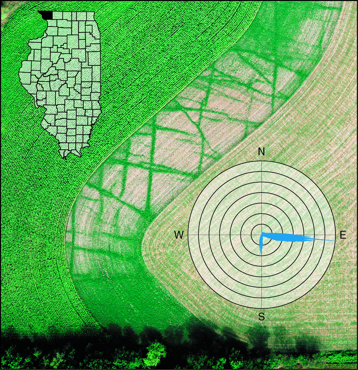 Aerial diagram of crop lines