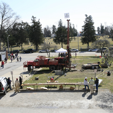 Drill rig outside fo the Natural Resources Building, March 2009