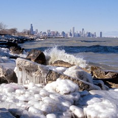 Ice along the shore of Lake Michigan, Chicago, Illinois
