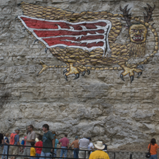 ISGS field trip participants view the Piasa Bird.