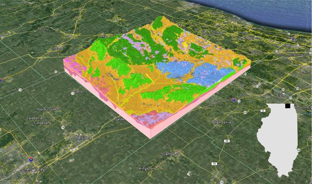 Visualization of a 3-D geologic map in McHenry County, Illinois. The base map is courtesy of Google Earth.