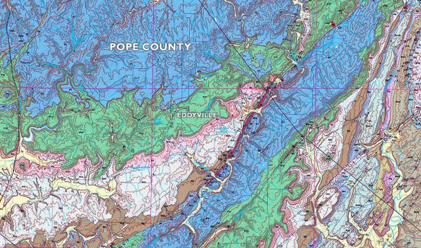 Detail of the new Pope County bedrock geology map centering near Eddyville, just released by ISGS.