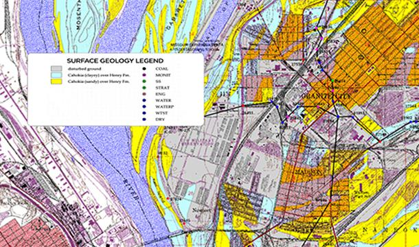 surface geology map of area around granite city illinois