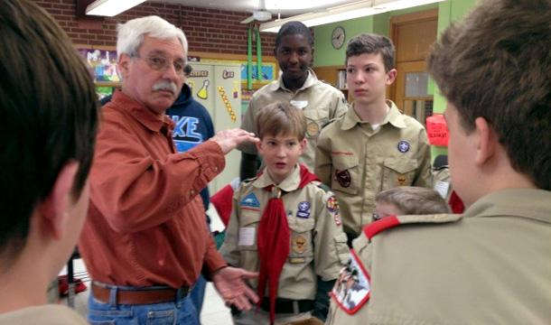 Christopher Stohr presents to Boy Scouts