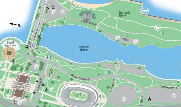 Zoomed-in portion of Walking Guide to Burnham Park
