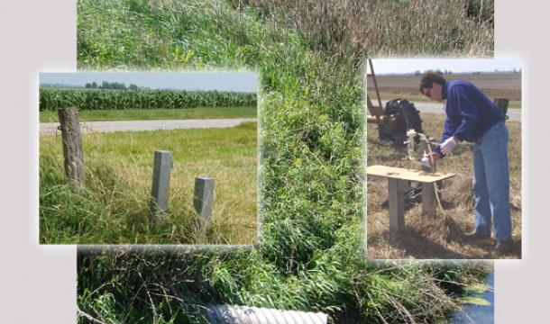 Scientists collecting soil samples from Big Ditch watershed. Photos by Don Keefer.