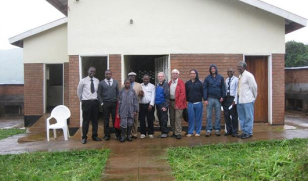 Zomba and Urbana Sister Cities Committee members and Zomba City staff at the Guardian Ablution Block, Zomba Hospital in Malawi.